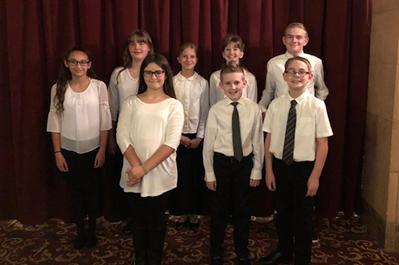 Elizabethtown Area School District students perform at the Hershey Theatre with members of the Hershey Symphony.