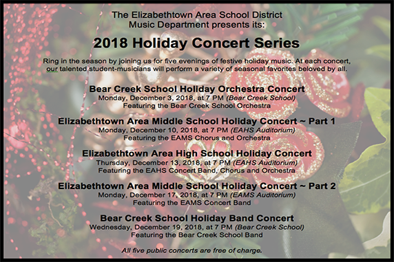 Elizabethtown Area School District 2018 Holiday Concert Series