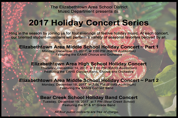 Elizabethtown Area School District 2017 Holiday Concert Series