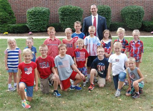 Bainbridge Elementary commemorated Patriot Day by dressing in red, white and blue