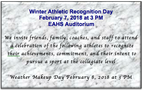 EAHS to hold Winter Athletic Recognition Day