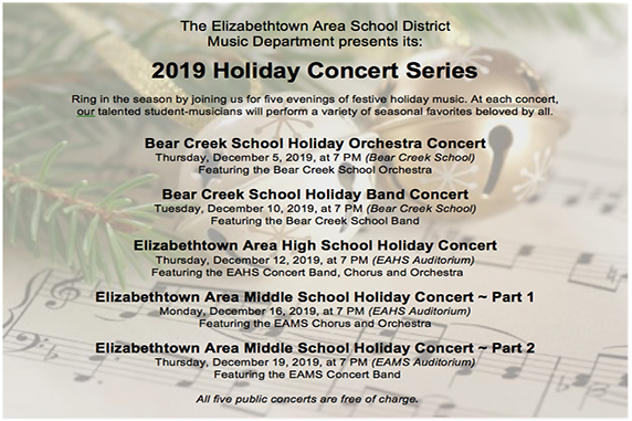 Elizabethtown Area School District 2019 Holiday Concert Series