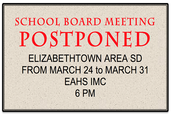 EASD School Board Meeting Postponed