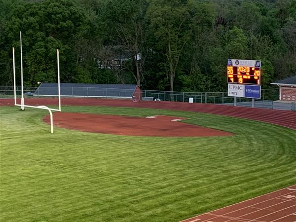 Picture of field and scoreboard
